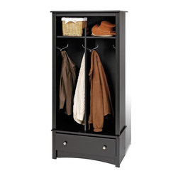 Prepac - 68.75 in. Entryway Organizer - Two divided hanging areas coats for jackets and sweaters. Single drawer underneath for tuck away gloves, hats and scarves. Divided top shelf. Brushed nickel knobs. Drawer runs smoothly on metal glides with built-in safety stops. Sturdy MDF backer. Warranty: Five years. Made from CARB-compliant, laminated composite woods. Black finish. Made in North America. Bottom: 13 in. W x 15.5 in. D x 42.75 in. H. Top: 13 in. W x 14 in. D x 9 in. H. Drawer: 24.75 in. W x 12.5 in. D x 5 in. H. Overall: 31.5 in. W x 16 in. D x 68.75 in. HGive your entryway, foyer or mudroom some much-needed storage with the Entryway Organizer. Top shelf is the perfect space for school supplies, hats and other everyday items. This organizer is an indispensable piece in any busy home.