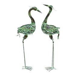 "Benzara - Metal Bird with Attractive and Elegant Artistic Style - Set of 2 - Add a casual style to your modern home setting with this metal bird set of 2 that features a stunning design with fine attention to details. With its artistic style, this metal bird set of 2 will surely add a dash of sophistication and opulence to your decor. Originating in China, this metal bird set of 2 can be placed in your backyard, your living room or even your bedroom. It will always add a wonderful appeal irrespective of the surrounding it is placed in. The top quality metal used in the manufacture ensures long lasting performance, making it an excellent option when it comes enhancing your home decor. It is available in 2 size variants - 38"" H x 12"" W x 7"" D, 40"" H x 10"" W x 7"" D."