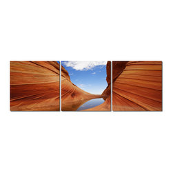 Baxton Studio - Baxton Studio Desert Sandstone Mounted Photography Print Triptych - Swirls of red sedimentary wonder sweep majestically toward the sky in this 3-piece modern photography print set. This single image has been split into three separate sections, each of which is printed with vivid inks onto a waterproof vinyl canvas. The Chinese-made photo triptych is mounted on MDF wood frames, is fully assembled, and is ready to hang. Mounting hardware is not included. To clean, we recommend dry dusting.