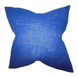 """The Pillow Collection - Ellery Solid Pillow Navy Blue - Add a pop of color to your interiors with this plush accent pillow. This indoor pillow features a striking navy blue hue. Toss this 18"""" pillow onto your bed, sofa or couch. Decorate this throw pillow in your living room, bedroom or office. Mix and match with solids and other patterns for a contemporary decor style. Made of 100% high-quality burlap fabric and crafted in the USA."""