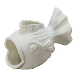 Kouboo - Gold Fish Porcelain Votive Candle Holder, White - This votive stands out thanks to its versatility. Use it in multiples as fun candle holders on your party table or to add an element of cuteness to your bathroom. The flame makes the porcelain of these votive candle holders glow in a warm, soft light. 1 year limited warrantyArtisan made from porcelain with no glazeHolds one tea lightHand washWeighs 0.25 lb