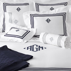 Newport Bedding - Trims are important in preppy design, and even more so when it comes to bedding. Another crucial aspect is a monogram on everything from bedding to barware. It's just another way to show respect for one's heritage.