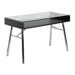 Flash Furniture - Flash Furniture Brettford Desk with Tempered Glass Top in Black - Flash Furniture - Computer Desks - NANJN2966GG - You'll have people doing a double take when they see this Open Glass Table Desk. The open space will allow you to neatly place any books and paperwork away neatly to be shown through the clear glass top. The shiny chrome frame adds to the modern design of this computer desk.