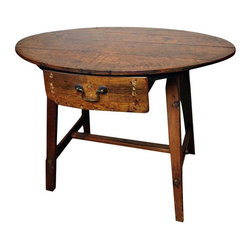 """Pre-owned Turn of the 19th/20th Century Occasional Table - Stylish country/primitive table that will lend great flair to any room.  A really useable size that can fit in with many decors.  Great wood patina and a beautiful color. Most likely late 19th century but, after extensive research, we have no other information; it could be much earlier. The table is even roughly I.D.'ed on the outside back of the drawer but it's a toss-up whether it reads """"TWEETY"""" or """"TWITTY""""!    This beauty is primitive in construction but very sturdy with many years to go. A one-of-a-kind piece!"""
