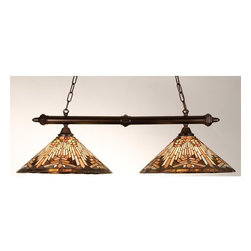 """Meyda Tiffany - Meyda Tiffany 18858 Stained Glass / Tiffany Island / Billiard Fixture C - 40"""" 2 Light Island FixtureWarm Earth Toned Bone Beige And Moccasin Tan Stained Glass, Accented With Glistening Root Brown And Sage Green, Is Used To Make These Intricate Interlocking Patterned ShadesIncludes 2 sections of 3 foot chain and 4 feet of wireHeight adjustable from 15"""" to 49.5""""2 100w max medium base bulbs (Not Included)"""