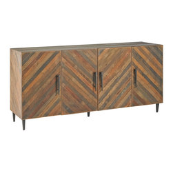 Kathy Kuo Home - Montserrat Rustic Mid Century Lodge Reclaimed Wood Credenza Cabinet - The natural, rustic beauty of repurposed wood is artfully arranged in a slatted mosaic pattern. Four deep drawers provide ample storage for linens, dishes and other essentials. Streamlined, dark iron handles and legs add rustic detail to this mid-century modern credenza.