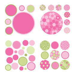 """WallPops - Pink/Green Gone Dotty Minipops Wall Decal - Glam up a wall with these super fun WallPops dots in different sizes. Featuring a fabulous combination of polka dots in pink and green, floral and leopard patterns, this wall art kit is perfect for a girly style. Gone Dotty - Pink/Green WallPops come on four 13"""" x 13"""" sheets and are repositionable and totally removable."""