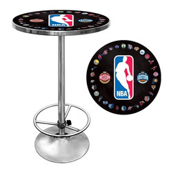 Trademark Global - NBA Logo with All Teams Chrome Pub Table - Officially Licensed Art. Reverse Printed on .125 inch Scratch Resistant UV Protective Acrylic. Table Top is trimmed with Chrome Finished Plastic Banding. Chrome Base. Adjustable Foot Rest. Table Top Dimensions: 27.375 x 27.375 x 1.25 inches. Overall Dimensions: 27.375 x 27.375 x 42 inchesImpress your guests with your officially licensed chrome pub table. This fully functional pub table will be a stylish accent to your game room, garage or collection. The table top features an authentic logo trimmed with chrome finished plastic banding and is supported by a chrome base. The chrome base is both lightweight and durable. It features an adjustable foot rest for customizable comfort. Bring style, function and comfort to your game room, garage or collection with an officially licensed chrome pub table.