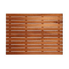 "Teakworks4u - Plantation Teak Shower/Bath Mat, 25"" X 18"" - Naturally mold and mildew proof due to its high oil content, this bath mat will serve you in style for years to come. The inherent beauty of teak is sure to complement your bathroom accessories and create a perfect decorative accent. Naturally high silica content makes this piece incredibly slip resistant. Crafted with quality wood, countersunk screws and rubber footing to protect your floors, this teak mat is nothing short of an investment. Proudly made in the U.S.A."