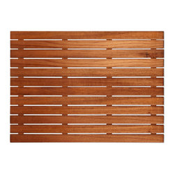 """Teakworks4u - Plantation Teak Shower/Bath Mat, 25"""" X 18"""" - Naturally mold and mildew proof due to its high oil content, this bath mat will serve you in style for years to come. The inherent beauty of teak is sure to complement your bathroom accessories and create a perfect decorative accent. Naturally high silica content makes this piece incredibly slip resistant. Crafted with quality wood, countersunk screws and rubber footing to protect your floors, this teak mat is nothing short of an investment. Proudly made in the U.S.A."""