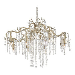 "Possini Euro Design - Possini Euro Branches 30"" Wide Silver Champagne Chandelier - Shimmering strands of crystal beads rain down from the branches frame of this silver champagne chandelier. Eight lights shine down from the tips of the branches that attach in the center to a champagne silver sphere hung from the ceiling by a decorative chain. A breathtaking fixture that will add a new level of luxury to your home decor. From Possini Euro Design. Metal frame. Champagne silver finish. Clear crystal beads. Includes  eight 40 watt G9 halogen bulbs. 31"" wide. 22"" high. Comes with 6 feet chan and 12 feet wire. Canopy is 5 1/8"" wide. Hang weight is 17.35 lbs.  Metal frame.   Champagne silver finish.   Clear crystal beads.   A large chandelier ideal for oversized rooms.  Includes  eight 40 watt G9 halogen bulbs.   31"" wide.   22"" high.   Comes with 6 feet chan and 12 feet wire.   Canopy is 5 1/8"" wide.   Hang weight is 17.35 lbs."