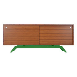 Eastvold Furniture - Elko Credenza, Bamboo, Green Base - Drop your keys, hide your files, stack your dishes and house your audiovisual equipment behind the sliding doors of this sleek credenza. The top is made in solid bamboo and boosts versatility with adjustable shelves and wire access. The laser cut, powder-coated base comes in one of six colors to create a midcentury meets modern love match.