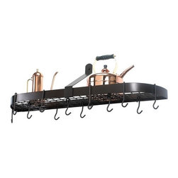 Old Dutch - Wall Pot Rack w/ 12 Hooks - A fantastic conversation piece that is a great combination of form and function, this wall pot rack features 12 hooks for your kitchenware, a grid shelf for additional storage and an extra durable construction to provide you with a product that will last for years to come. Features: -Sleek, stylish design.-Comes with 12 hooks.-Collection: Pot Rack.-Distressed: No.Dimensions: -Overall dimensions: 14'' H x 36'' W x 9'' D.-Product weight: 13 lbs.-Overall Product Weight: 10 lbs.