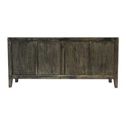 Raven Dark Gray 4 Door Tall Sideboard - Our collection of sideboards are built of beautiful elm wood reclaimed from buildings and furniture pieces that graced the eclectic Qing dynasty. Each piece is meticulously hand built and finished by time-honored craftsman utilizing over 120 different processes. A gorgeous addition to your living room, stunning under your flat panel television, or for extra storage, this sideboard is sure to make a statement.