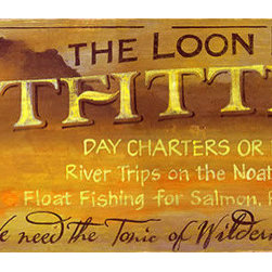 Red Horse Signs - Rustic Fishing Signs Loon Lake Outfitters izable Sign - Rustic  Fishing  Signs  -  Loon  Lake  Outfitters  -  Customizable  Sign    Our  Loon  Lake  rustic  fishing  sign  is  printed  directly  to  distressed  wood  with  all  the  knots  and  imperfections  of  weathered  wood  for  a  unique  vintage  style.    With  a  finished  size  of  9x28,  one  of  these  signs  can  be  customized  to  suit  your  particular  preferences  for  lake  home,  log  cabin  or  lodge.    For  an  additional  fee,  you  can  substitute  new  wording  of  your  choice.  Sign  reads,  The  Loon  Lake  Outfitters,  Day  charters  or  drop  offs.  River  trips  on  the  Noatak  and  Koyukuk.  Float  Fishing  for  Salmon,  Rainbows  and  Dollies.  We  need  the  tonic  of  Wilderness.    Please  allow  up  to  three  weeks  for  delivery.    Product  Specifications:        Rustic  style    Finished  Size:  9x28    Printed  directly  to  distressed  wood    Customize  with  own  content
