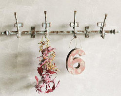 Distressed Grey Metal Wall Hooks - Shabby chic meets vintage industrial with this weathered rod and bracket featuring four numbered hooks and a distressed grey paint finish.