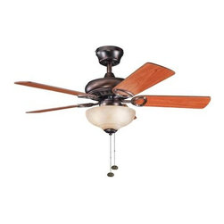 "Kichler - 42"" Sutter Place Select 42"" Ceiling Fan Oil Brushed Bronze - Kichler 42"" Sutter Place Select Model KL-337014OBB in Oil Brushed Bronze with Reversible Walnut/Cherry Finished Blades."
