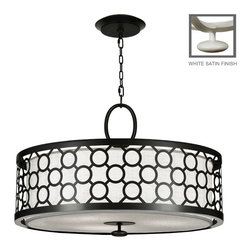 Fine Art Lamps - Black + White Story Pendant, 780140-5ST - Black and white tell a stylish story with this pendant. A satin lacquer exterior with a pattern of connected circles surrounds a textured white linen shade for crisp contemporary lighting over your dining room table.