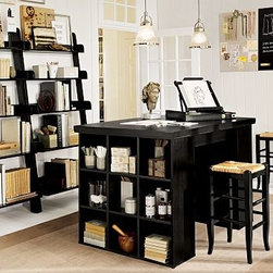"Bedford Project Table, includes two 3 x 3 Bookcases & one Tabletop, Black - Customize a spacious, organized workspace for all your creative endeavors with the hardwood-framed pieces in our Bedford Collection. The project table set gives you the ultimate flexibility in creating a workspace that's ideal for you. To create a desk set that's ideal for your space, {{link path='/shop/furniture-upholstery/tools-furn/bedford-desk-furniture/'}}click here{{/link}} to view our Bedford Desk Set Tool. 55"" wide x 38"" deep x 37"" high Provides more than 12 square feet of surface area, and rests on 2 counter-height bookcases that have 6 removable shelves. The bookcases can also be used on their own or stacked to expand storage. Pair with our medium Wingate Rattan Barstool (sold separately). Wood swatches, below, are available for $25 each. We will provide a merchandise refund for wood swatches if they're returned within 30 days. Catalog / Internet Only. View our {{link path='pages/popups/fb-home-office.html' class='popup' width='480' height='300'}}Furniture Brochure{{/link}}."