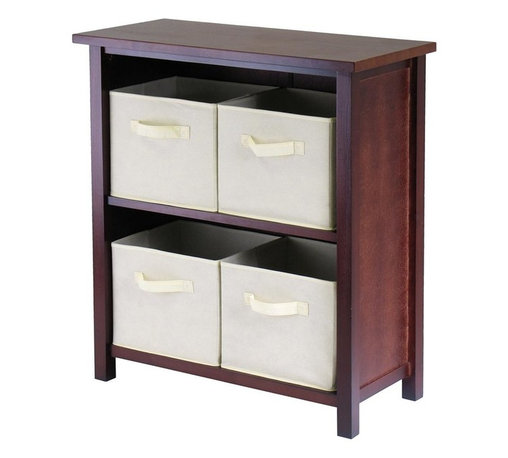 Winsome Wood - Walnut Finished Storage Unit w 2 Shelves and - This unit has a spacious storage capacity in a compact design that is sure to compliment your home. Two shelves house four storage baskets, which come in a stylish beige color and are perfect for keeping clothes, toys, or other household items. A walnut finish and sturdy wood frame complete the appeal. * Verona Collection. Walnut finish unit. Beige color baskets. Wood Unit. Fabric baskets. Assembly required. Shelf Unit: 28 in. L x 13 in. W x 30 in. H, 22 lbs. Basket: 10.97 in. L x 10.06 in. W x 9 in. H. 1.2 lbs