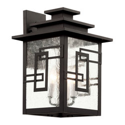 Trans Globe - Geo Tempo Wall Lantern - Geo Tempo Wall Lantern features an Asian inspired design with three tier roof fabricated from weather resistant cast aluminum in Weathered Bronze finish.��Clear seeded glass. Available in two sizes. ��Small size is 7 inches wide x 11.75 inches high x 7.75 inches deep and requires one 100 watt A19 incandescent lamp, not included. ��Large size is 11 inches wide x 16.5 inches high x 11.75 inches deep and requires three 60 watt 120 volt B10 candelabra base incandescent lamps, not included.