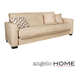 ANGELOHOME - angelo:HOME Alden Summer Sand Tan Convert-a-Couch Futon Sofa Sleeper - The angelo:HOME Alden Convert-a-Couch is designed by Angelo Surmelis. The transitionally designed Alden Convert-a-Couch futon sleeper sofa features an extra-wide squared arm design for additional comfort.