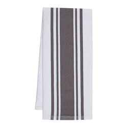 "KAF Home - Striped Kitchen Towels, Pewter, Set of 4 - A essential in any kitchen, our herringbone weave center band towels are ready for drying pots and pans or mopping up spills. These 30"" x 20"" kitchen towels feature a center stripe and are available as a set of four."