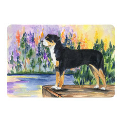 Caroline's Treasures - Greater Swiss Mountain Dog Kitchen or Bath Mat 20 x 30 - Kitchen or Bath Comfort Floor Mat This mat is 20 inch by 30 inch. Comfort Mat / Carpet / Rug that is Made and Printed in the USA. A foam cushion is attached to the bottom of the mat for comfort when standing. The mat has been permanently dyed for moderate traffic. Durable and fade resistant. The back of the mat is rubber backed to keep the mat from slipping on a smooth floor. Use pressure and water from garden hose or power washer to clean the mat. Vacuuming only with the hard wood floor setting, as to not pull up the knap of the felt. Avoid soap or cleaner that produces suds when cleaning. It will be difficult to get the suds out of the mat.