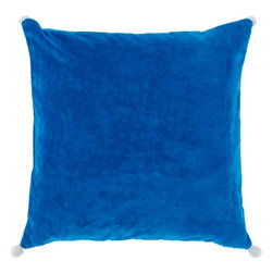 "Surya - Surya VP-001 Vivacious Velvet Pillow, 18"" x 18"", Down Feather Filler - Both fun and functional, this is the perfect pillow to update your home's decor. Featuring a solid blue backdrop paired harmoniously with intricate white pom poms added to each corner, this pillow is a classic solution to renovating any space. This pillow contains a zipper closure and provides a reliable and affordable solution to updating your home's decor. Genuinely faultless in aspects of construction and style, this piece embodies impeccable artistry while maintaining principles of affordability and durable design, making it the ideal accent for your decor."