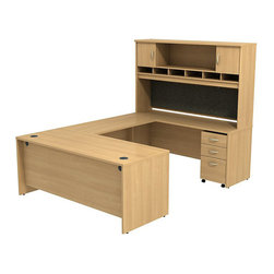 """BBF - BBF Series C 72W x 30D U-Station with Hutch and 3Dwr Mobile Pedestal - BBF - Computer Desks - SRC004LOSU - Work space to spare with this BBF Series C U-Station office. The combination of a 72""""W Shell Desk and 72""""W Credenza Shell with the 48""""W Bridge Return creates an expansive desktop with all surfaces made of thermally fused laminate for superb resistance to scratches and stains. Desktop grommets support the wire maintenance system to keep the work surfaces free from wires and cables and maintain a professional look. The 72""""W 2-Door Hutch adds versatile upper storage with six open work-in-progress trays open and closed storage and a fabric tack board the length of the Hutch for visual organizers. The two closed storage compartments feature Euro-style self-closing hinges for a soft close and lasting convenience. Completing this office group is a 3-Drawer Mobile Pedestal offering two box drawers to keep office supplies orderly and a lockable file drawer with full-extension ball bearing slides for full access. The Mobile Pedestal fits neatly under the desktop to keep everything close at hand. With a finish to match any decor additional BBF Series C pieces allow for additional configurations as your needs evolve and grow. Solid construction meets ANSI/BIFMA test standards in place at time of manufacture; this product is American Made and is backed by BBF 10-Year Warranty."""