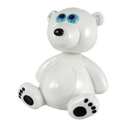 Adorable Bobble Head Polar Bear Money Bank Piggy - This adorable cold cast resin bobble head polar bear figurine doubles as a piggy bank. The bear measures 5 1/2 inches tall, 4 1/2inches wide and 3 1/2 inches deep. The bank empties via a twist off plastic piece on the bottom. He is hand-painted, and makes a great gift for bear lovers.