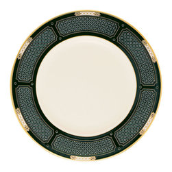 Lenox - Lenox Hancock Accent Plate - This Lenox Hancock accent plate complements Hancock dinnerware while also presenting a distinctive presence of its own. The prominent and elegant design on ivory bone china is an elegant combination of black,gold,and hand enameling in pearl white.