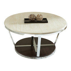 Steve Silver Bosco 36 Inch Round Faux Marble Cocktail Table w/ Casters