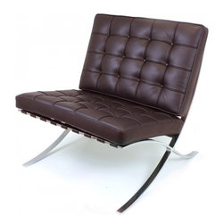 Serenity Living Stores - Barcelona Chair Reproduction - Aniline Leather, Chocolate - The Barcelona Chair was initially designed by Mies Van Der Rohe & Lilly Reich during the middle of the 19th century. The main source of inspiration for our chair comes from the 1929 German Pavilion where Mies and Lilly Reich showcased a gorgeous chair now known worldwide as the Barcelona Chair.