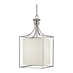 "Lamps Plus - Contemporary Midtown Collection Polished Nickel Square Foyer Chandelier - Geometric angular shapes bring a contemporary element into your entryway. A square of polished nickel surrounds a cube shaped shade lending its sleek design to your home decor. The frosted glass diffuser helps to soften and perfect the lighting. Polished nickel finish. Frosted glass diffuser. Takes two 60 watt bulbs (not included). Includes 10ft chain and 15ft wire. Canopy is 5"" wide. 14"" wide. 28"" high.  Polished nickel finish.   Frosted glass diffuser.   Takes two 60 watt bulbs (not included).   Includes 10ft chain and 15ft wire.   Canopy is 5"" wide.   14"" wide.   28"" high."