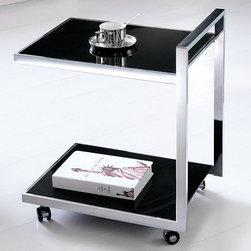 Armen Living - Dapper Drink Cart in Stainless Steel and Glass Shelves - This drink cart can go anywhere. Tea-time is where ever you want to relax or even put your feet up with this elegant little two tier drink cart made of stainless steel and tempered glass shelves.