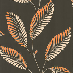 Decorline - Dl Accent Leaf Wallpaper - No need to leaf through other wallpaper samples when you've found the one. With stylized apricot and light taupe leaves on an even deeper taupe background, it's a thoroughly modern way to add color and texture to your room. The pattern has a 25.2-inch repeat and a drop match, and comes on a bolt measuring 20.5 inches wide by 33 feet long.