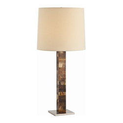Arteriors - Arteriors Fonda Faux Horn Brushed Steel Lamp - Faux horn mosaic column sits on top of a stainless steel flat base. The shade is a lightly textured cotton lined in white.