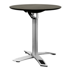 Wholesale Interiors - Yang Standard Height Black or Silver Folding Event Table - The Yang Table is perfect for cocktail parties, events, or spaces that require furniture that is easy to move and store. It features a top that folds from a horizontal to vertical position with a simple lift of a lever for storage against a wall when not in use. This commercial grade furniture has a black-coated wooden top with a powder-coated steel base and a black plastic lever mechanism underneath the tabletop, all finished off with black plastic non-marking feet. This table is also available in a taller height. Assembly is required.