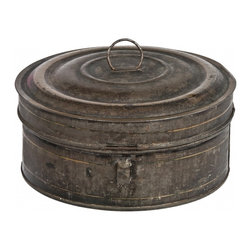 Round Spice Tin - Antique round tin container that holds five smaller spice tins in black rustic finish with gold striping.