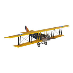 Authentic Models - Medium Jenny Classic Barnstormer Aiplane Model - Adorn this true historic miniture airplane sitting on your desk of your home or office! This model airplane looks so real, that it might take off any second! The colors are yellow blue and red, 20.08 l x 7.09 h with a 31.5 inch wingspan wood frame with silk fabric and metal.