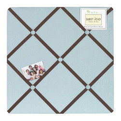 Sweet Jojo Designs - Hotel Blue & Brown Fabric Memo Board - The Hotel Blue & Brown Fabric Memo Board with button detail is a great way to display photos, notes, and postcards on your child's wall. Just slip your mementos behind the grosgrain ribbon to create an engaging piece of original wall art. This adorable memo board by Sweet Jojo Designs is the perfect accessory for the matching children's bedding set.