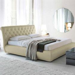 Cattelan Italia - Cattelan Italia | Alexander Bed - Made in Italy by Cattelan Italia.A haven of harmony and serenity, the Alexander Bed is the definition of comfort. This modern bed features a button tufted headboard that is upholstered in the finest Italian soft leather. Available in a variety of sizes, you're sure to find the ideal fit for your bedroom. Choose among a wide selection of leather colors for the headboard and sides. Storage below the bed is optional. This modern bed sports sturdy chrome steel feet, and  slats to support a mattress, making a box spring optional. Mattress not included. Also available with storage.