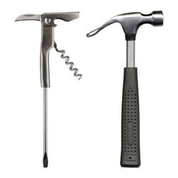 "Barbuzzo - Mini Bar Tools - Have your handy man fix a few cocktails with our mini bar tools set. The ""Hammer"" crushes ice and opens his brewsky, while he can uncork that bottle of vino with the ""screwdriver"".  The right tools for the right job. Includes a Beer Hammer bottle opener and a Corkscrew Screw Driver."