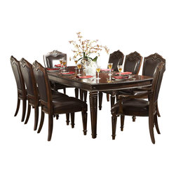 Homelegance - Homelegance Palace 7-Piece Dining Room Set in Brown Cherry - The Palace collection exemplifies the best of Old World Europe. Egg and dart moldings, rope twists, acanthus and tobacco leaf carvings and florets accentuate each piece; the Palace collection has it all.