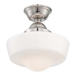 "Minka Lavery - Minka Lavery 2257-613 1 Light 14.5"" Height Semi-Flush Ceiling Fixture in Polishe - Single Light 14.5"" Height Semi-Flush Ceiling Fixture in Polished NickelFeatures:"