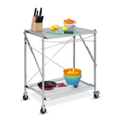 "Honey Can Do - Kitchen Cart - Honey-Can-Do Folding Urban Work Table, Stainless Steel. The Stainless Steel Folding Work Table is a great way to easily gain additional counter space in the kitchen, craft room, or workshop. It can even be used outdoors as a serving area while entertaining, then simply fold it flat and store it away. Fully portable, this work table is set on smooth rolling casters, making it easy to maneuver while in use and locks in place for stability. A lower wire mesh shelf provides additional storage. Durable stainless steel construction. Features: -Work table.-Folds to 3'' for convenient storage.-Rolling casters.-Stainless steel construction.-Multi use, residential and commercial.-Product Type: Kitchen work table.-Base Finish: Stainless Steel.-Counter Finish: Stainless Steel.-Hardware Finish: Steel.-Distressed: No.-Powder Coated Finish: No.-Gloss Finish: No.-Base Material: Steel.-Counter Material: Stainless Steel.-Hardware Material: Stainless Steel.-Water Resistant or Waterproof: Stainless Steel - water proof.-Stain Resistant: Yes.-Exterior Shelves: Yes -Number of Exterior Shelves: 1.-Adjustable Exterior Shelving: No..-Drawers Included: No.-Cabinets Included: No.-Pot Rack: No.-Spice Rack: No.-Cutting Board: Yes.-Drop Leaf: No.-Drain Groove: No.-Trash Bin Compartment: No.-Stools Included: No.-Casters: Yes -Locking Casters: Yes.-Removable Casters: Yes..-Wine Rack: No.-Stemware Rack: No.-Cart Handles: No.-Finished Back: No.-Swatch Available: No.-Commercial Use: Yes.-Product Care: Wipe clean with damp cloth.Dimensions: -Overall dimensions: 38'' H x 30'' W x 24'' D.-Overall Height - Top to Bottom: 38"".-Overall Width - Side to Side: 30"".-Overall Depth - Front to Back: 24"".-Width Without Side Attachments: 30"".-Height Without Casters: 38"".-Countertop Width - Side to Side: 30"".-Countertop Depth - Front to Back: 24"".-Shelving: -Shelf Height - Top to Bottom: 31.-Shelf Width - Side to Side: 30.-Shelf Depth - Front to Back: 24..-Leaf: No.-Drawer: No.-Cabinet: No.-Stool: No.-Overall Product Weight: 28 lbs.Assembly: -Features:.-Assembly required.-Assembly Required: Yes.Warranty: -Manufacturer provides limited lifetime warranty."