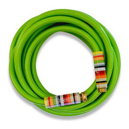 Lime Green Garden Hose with Striped Handles - This lime green garden hose would make gardening a lot more fun and enjoyable with a burst of color in the yard.