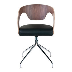 Euro Style - Euro Style Bernice Chair Set of 2 27222A/27220B - If you're looking for a swivel chair with originality and flare that doesn't sacrifice comfort...this is it. The laminated wood seat back and arms put the support exactly where you need it. And the opened up space between seat and back lends a welcomed lightness to the proceedings.
