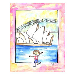 "Oh How Cute Kids by Serena Bowman - Girl in Sydney, Ready To Hang Canvas Kid's Wall Decor, 24 X 30 - ""G'Day!""  I love to travel. LOVE LOVE LOVE to TRAVEL. I love everything about it - new food, new streets, new people - I think it is best to way to experience life. This is part of my Travel Girl series that started out as a shout out to all the places I have been!.  I hope you enjoy my art as much as I enjoyed making it."